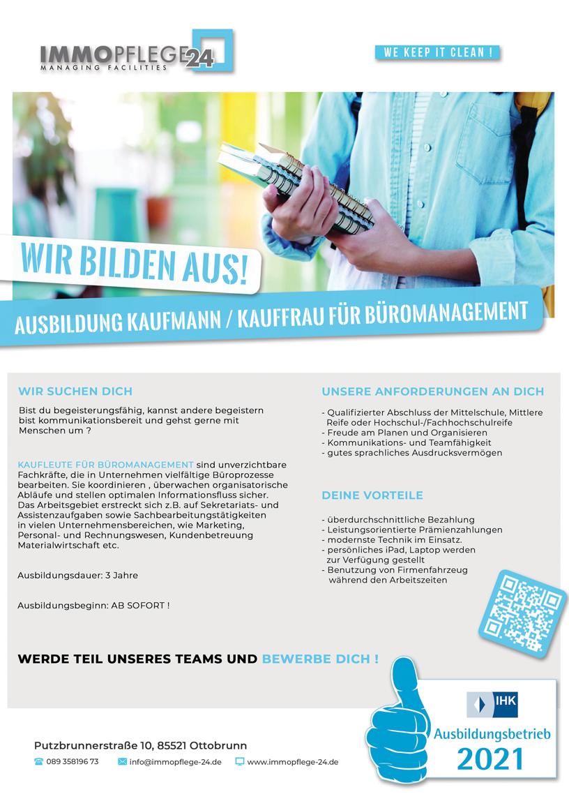 Ausbildungsflyer Kaufmann/Kauffrau Immopflege-24